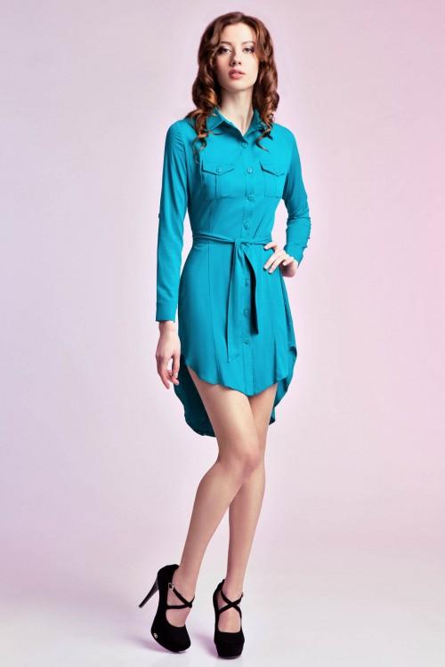 Платье -рубашка 74-01бирюза