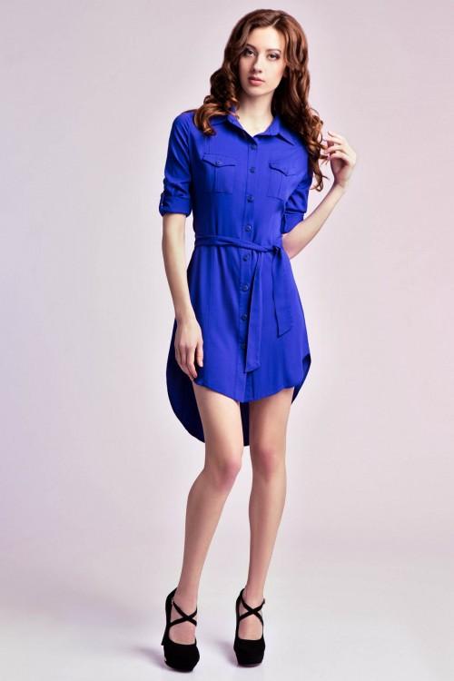 Платье -рубашка 74-01электрик