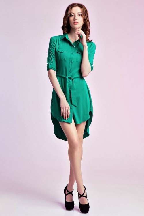 Платье -рубашка 74-01зеленый