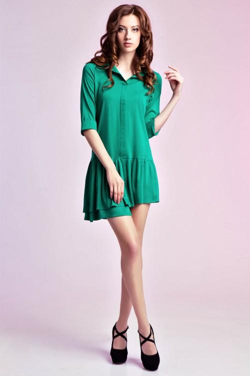Платье-рубашка 75-01 зеленый