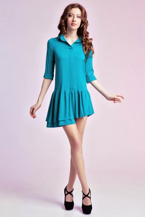 Платье-рубашка 75-01 бирюза