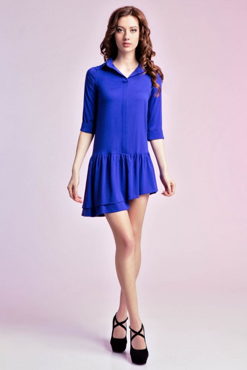 Платье-рубашка 75-01 электрик