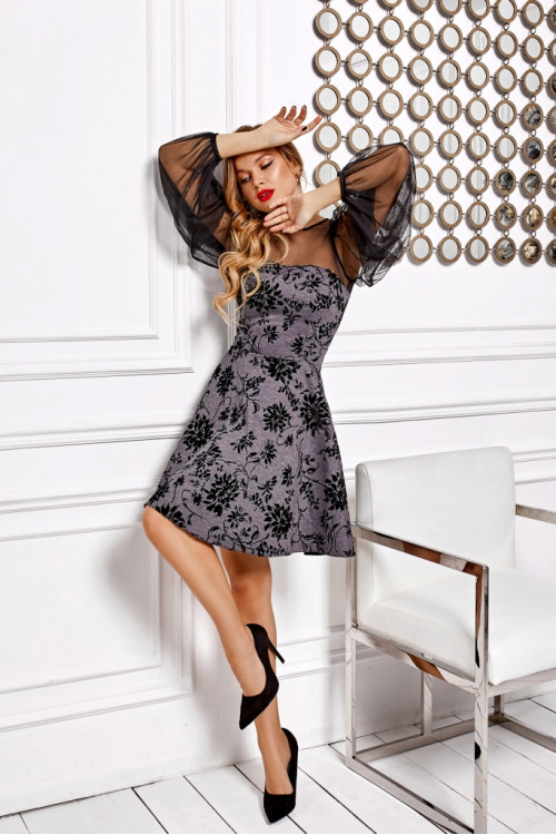 Платье 3498 серый
