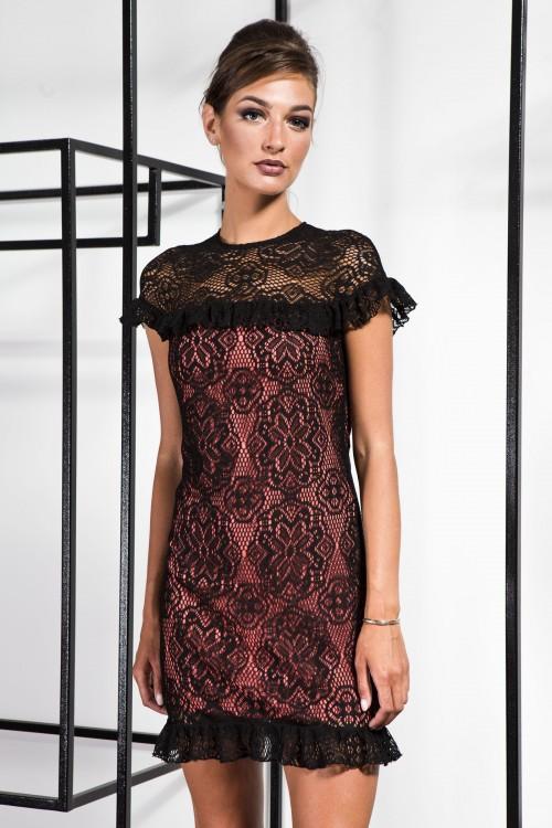 Платье 3365 черный+ персик