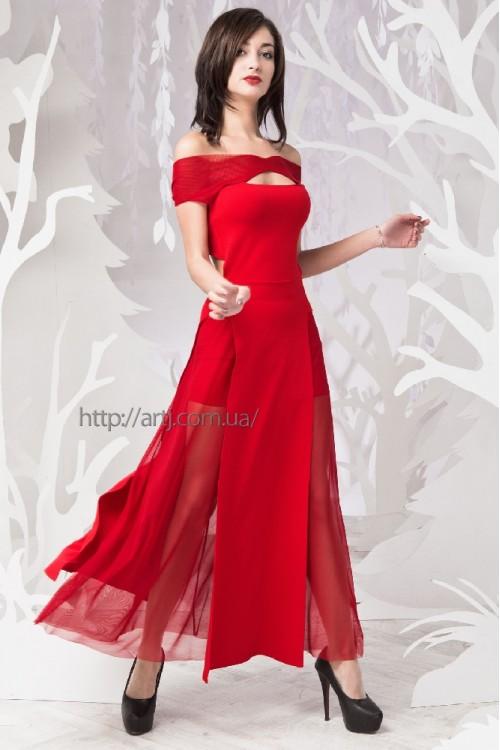 Платье 54-01 красный