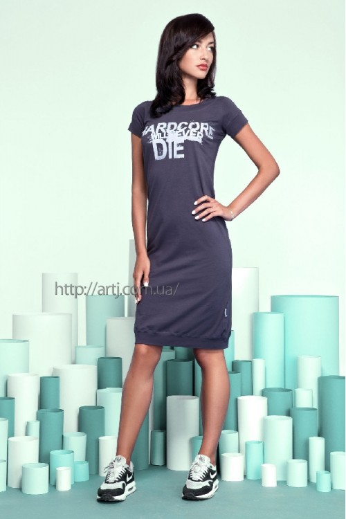 Платье 16-42 темно-серое