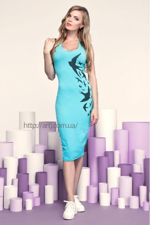 Платье 20-46 ментоловое