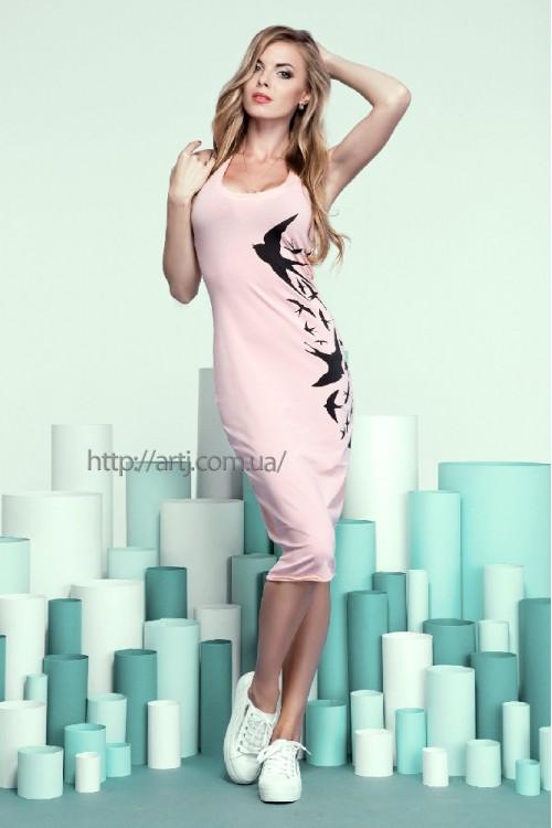 Платье 20-46 персиковое