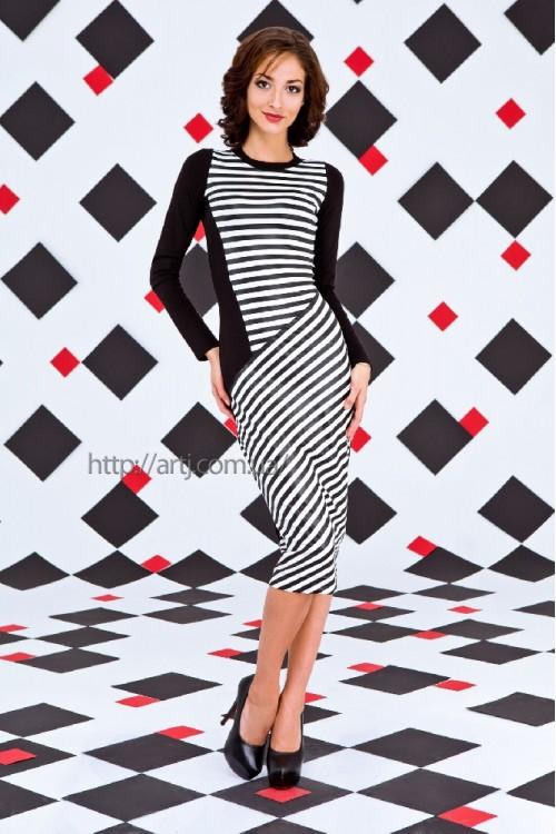 Платье 34-00 черно-белый